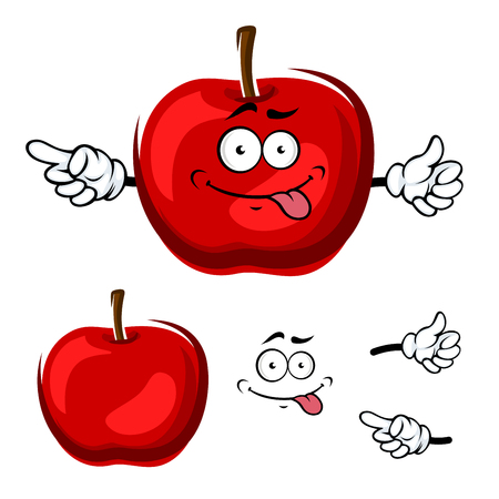 teasing: Teasing cartoon red apple fruit character with funny face showing finger away. For healthy vegetarian food or agriculture theme design Illustration