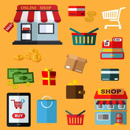 money button: Shopping and retail flat icons of online shop, sale tag, tablet pc with buy button, money, banking cards, shopping cart, basket and bag, store, wallet, cash register, gift and delivery boxes