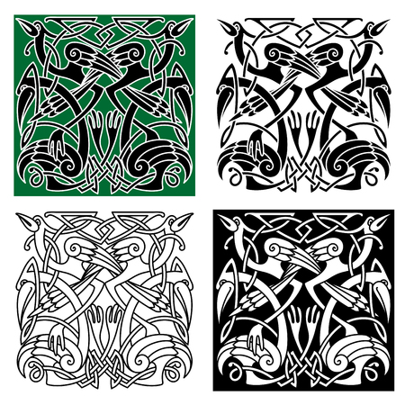 herons: Ancient celtic birds symbols with tribal stylized herons or storks, decorated by traditional irish ornament. For tattoo or heraldry design