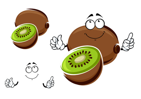 flesh: Funny whole and sliced kiwi fruit cartoon character with green juicy flesh and black seeds in the center. Isolated on white background