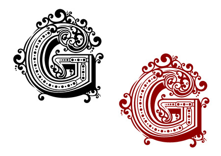 Letter G in uppercase font adorned by ornamental flourishes and calligraphic decorative elements for monogram or certificate design