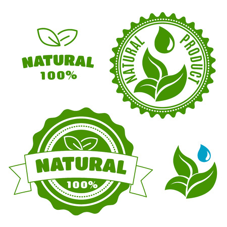 quality icon: Natural product labels and badges with sappy green leaves, water drops and ribbon banner. For retail industry design