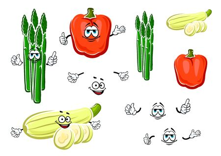 zucchini: Cartoon red bell pepper, green asparagus bunch and striped zucchini vegetables for fresh healthy food or agriculture