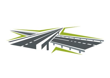 Speedy autostrada passa sotto moderna strada cavalcavia simbolo astratto isolato su sfondo bianco per il trasporto o viaggio in auto di progettazione Archivio Fotografico - 44734670