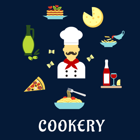italian cuisine: Italian cuisine flat icons with moustached chef in white uniform and hat among pizza, pasta and lasagna with vegetables, cheese, olive oil, red wine and farfalle pasta bow ties