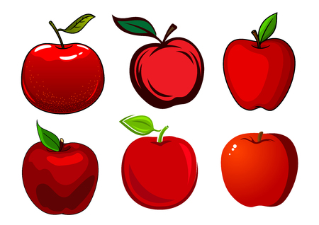 diet cartoon: Fresh and ripe red apple fruits with green leaves and smooth shiny skin isolated on white background Illustration