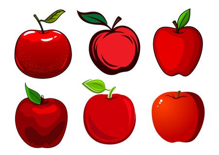 manzana roja: Manzanas rojas frescas y maduras con hojas verdes y la piel lisa y brillante aislados sobre fondo blanco