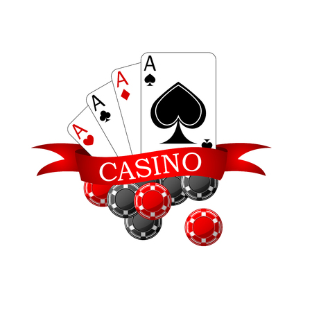 forked: Casino icon with playing cards four aces, black and red gambling chips decorated by ribbon banner with forked edges