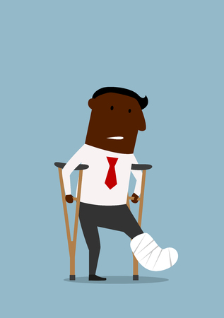 cartoon accident: African american businessman standing with crutches and showing cast on a broken leg. For health insurance or healthcare concept theme design, cartoon flat style