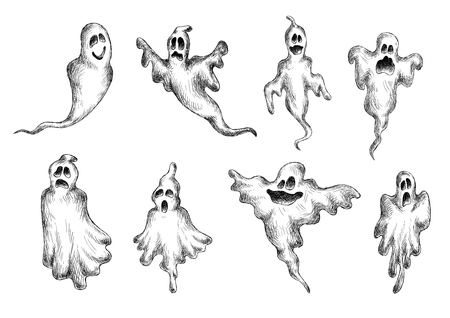 cute ghost: Flying halloween eerie and funny ghosts for holiday themes design