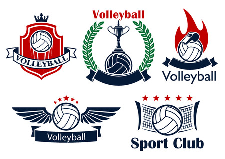 volleyball: Volleyball sporting club or team emblems with volleyball balls, net, trophy, whistle, flame and wings, supplemented by heraldic shield with crown, laurel wreath, ribbon banners and stars Illustration