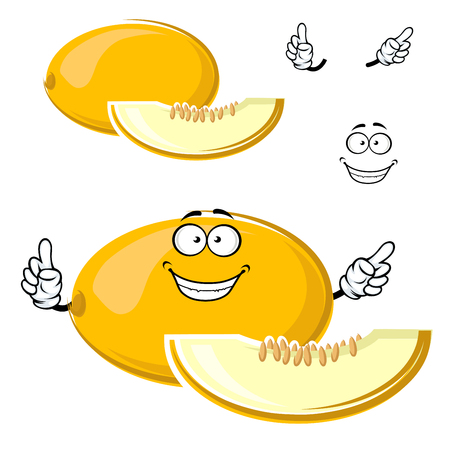 happy smile: Bright yellow canary melon fruit cartoon character with sweet juicy slice, seeds and happy smile for healthy fresh food or agriculture themes