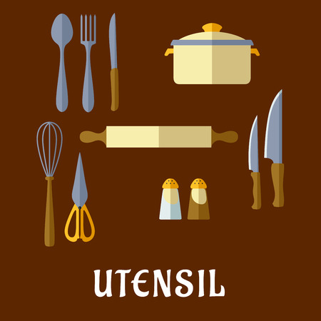 knife fork: Kitchenware and utensil flat icons with spoon, fork, knife, rolling pin, pans, spices and salt Illustration