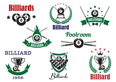 ビリヤード スポーツ アイコン ビリヤード ボール、キュー、トロフィー カップ、炎星、王冠、紋章入りの盾によって装飾された月桂樹の花輪とリボ
