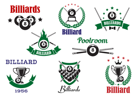 game of pool: Billiards sports icons with billiard balls, cues and trophy cups, decorated by flame, stars, crown, heraldic shield, laurel wreaths and ribbon banners