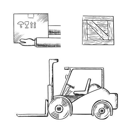 sketches: Delivery and logistics service concept with carrying box in hands, wooden crate and forklift truck, outline sketch style
