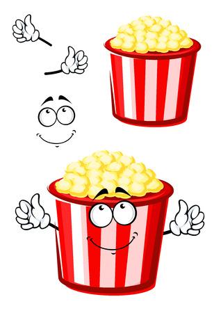 palomitas de maiz: Personaje de dibujos animados dulce palomitas para llevar en el tradicional cubo de papel rojo y blanco con sonrisa pensativa, para la comida rápida o el diseño temático de ocio