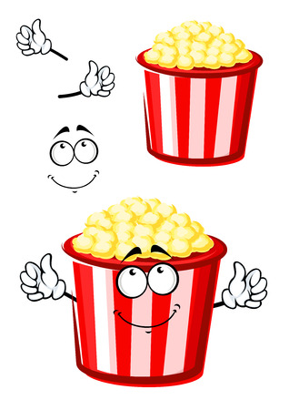 movie and popcorn: Takeaway sweet popcorn cartoon character in traditional red and white paper bucket with pensive smile, for fast food or leisure theme design