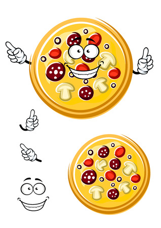 pizza ingredients: Italian pizza cartoon character with salami, tomato, mushroom and olive slices ingredients for pizzeria or fast food theme