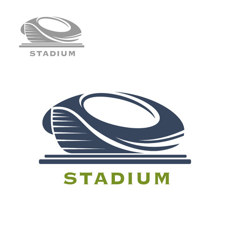 blue roof: Sport arena or stadium icon for sports game, tournament or building themes design Illustration