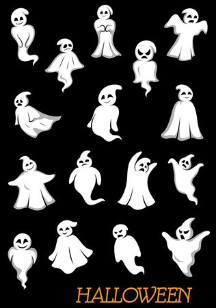 ghouls: White halloween ghosts and ghouls with danger faces for holiday theme design
