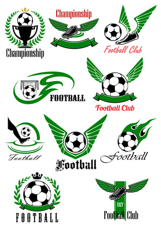 football ball: Football and soccer game icons with balls, shoes, trophy and gate, supplemented by wings, flames, laurel wreaths, crowns and ribbon banners Illustration