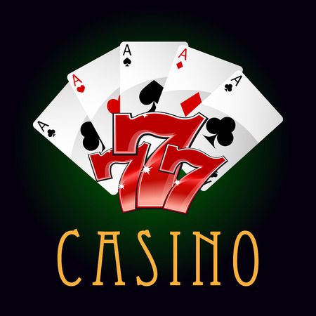 numbers icon: Luxury casino an gambling icon with poker cards and lucky numbers Illustration