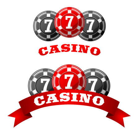triple: Triple lucky seven jack pot icon with gray and red gambling chips adorned by ribbon banner with text Casino