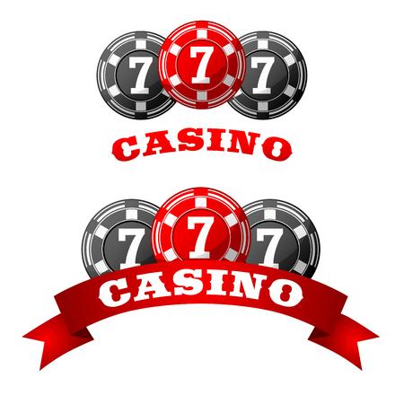 jack pot: Triple suerte icono de bote de siete jack con fichas de juego gris y rojo adornados con bandera de la cinta con Casino texto