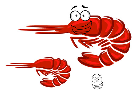 antennae: Red shrimp cartoon character with curved tail and happy smiling face for seafood or restaurant menu design Illustration