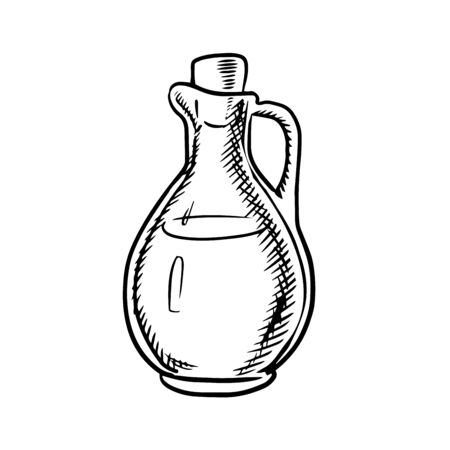 olive oil bottle: Olive oil bottle icon with handle and cork isolated on white background, outline sketch style Illustration
