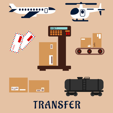 conveyor rail: Air and rail freight service flat icons with airplane, helicopter, tank wagon, letters and delivery boxes with packaging signs on a scales and a conveyor belt. Caption transfer below Illustration