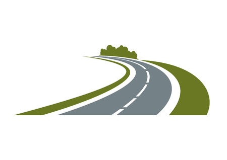 road: Winding paved road icon with green grassy roadside and curly bushes isolated on white background.  For travel or transportation theme