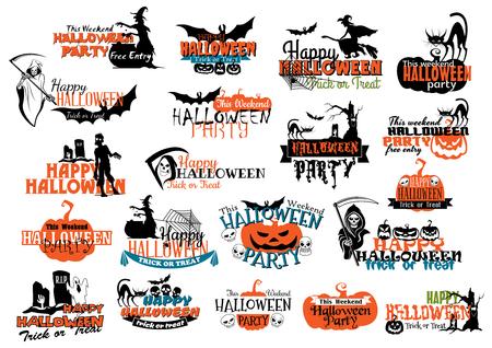 brujas caricatura: Banderas del partido de Halloween y cabeceras para el diseño de la invitación de fiesta