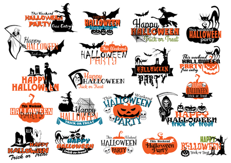 cartoon bat: Halloween party banners and headers for holiday invitation design Illustration