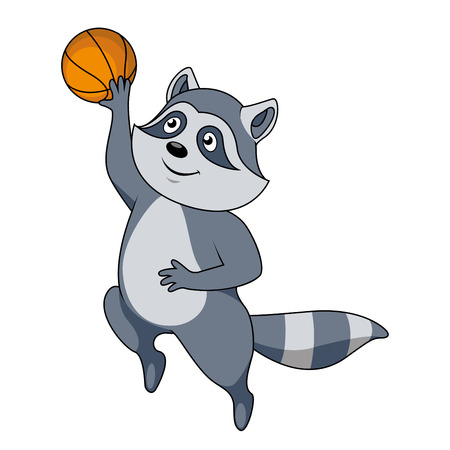 sport cartoon: Funny cartoon raccoon basketball player character jumping with ball for a slam dunk shot. For sporting team or club mascot