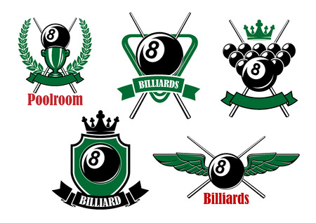 cues: Pool, snooker and billiards game icons with black balls, crossed cues, triangle rack, trophy, crowns and wings, decorated by heraldic shield, wreath and ribbon banners Illustration