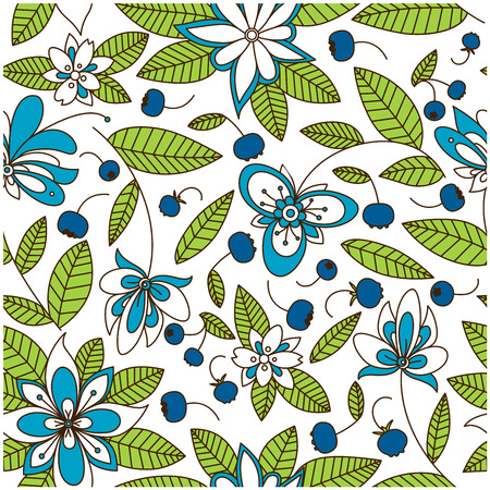 textile texture: Blooming blueberry meadow seamless pattern with stylized white and blue flowers, dark purple berries and evergreen foliage for retro wallpaper or fabric design Illustration