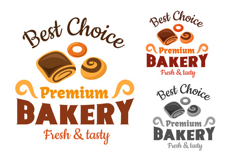 bagel: Premium bakery emblems or sign with cinnamon roll, bagel and sweet bun with chocolate for pastry or bakery shop icon
