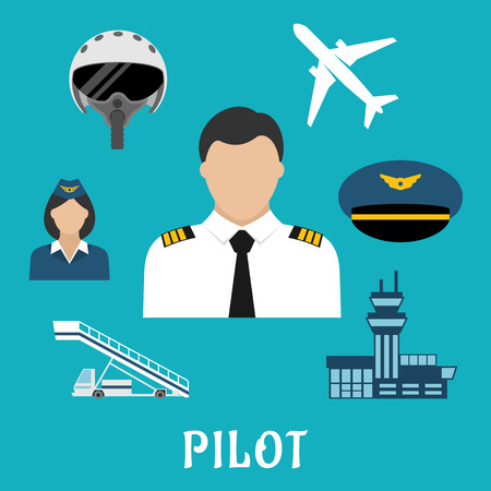 airplane: Pilot profession flat icons with captain in white uniform surrounded by stewardess, airplane, flight helmet, peaked cap, modern airport building and aircraft steps Illustration