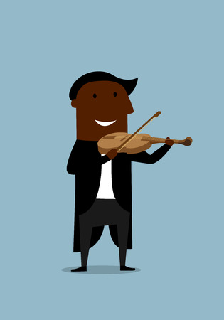 Cheerful african american musician violinist in elegant tailcoat playing solo a violin for musical concert design, cartoon flat style Illustration