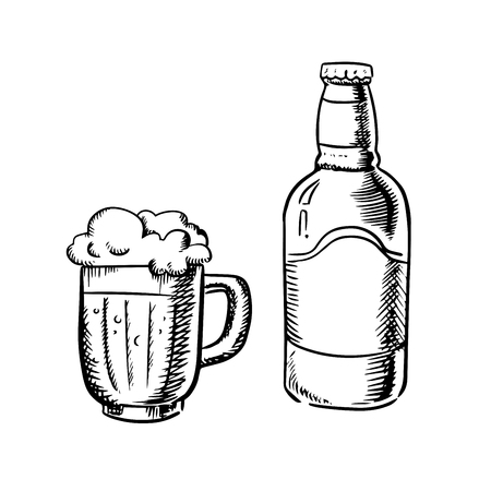 overflow: Beer bottle  and filled tankard with overflowing froth head, outline sketch style