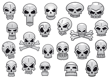 Human and evil skulls set for halloween holiday or tattoo design