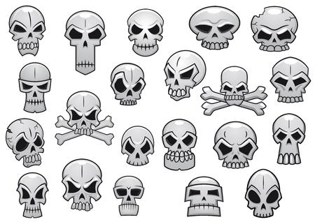 calavera caricatura: Cr�neos humanos y el mal establecidos para halloween vacaciones o dise�o de tatuaje