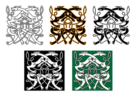 mythical: Fighting wolves celtic patterns with mythical animals and decorative knot elements for tattoo or medieval themes design Illustration