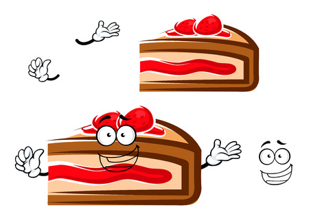 fruity: Happy berry pie slice cartoon character with fruity sauce and strawberry. For pastry shop or dessert food design Illustration