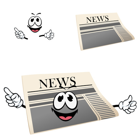 newspaper headline: Happy cartoon newspaper character with headline News and smiling face showing finger away for media or advertisement design