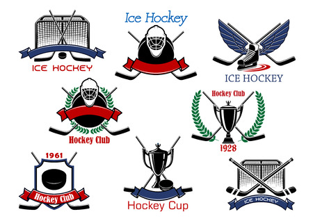 goalie: Ice hockey cup or sporting club emblems with hockey pucks, sticks, goalie masks, trophy, winged skate and gates, supplemented by heraldic shield, wreaths and ribbon banners