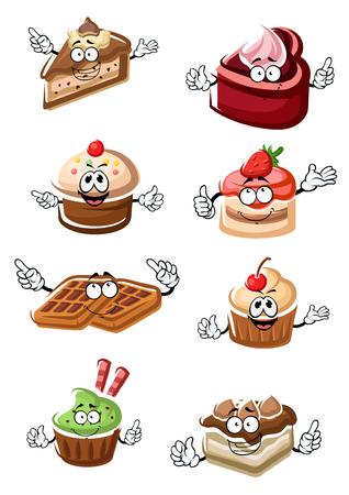 Cartoon heerlijke grappig fruitige desserts, chocoladecake plakjes, cupcakes en België wafels personages met verse aardbeien, kersen fruit en slagroom. Voor patisserie thema
