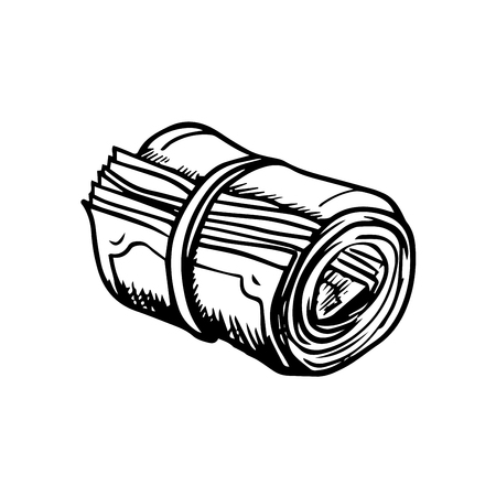 rolled: Roll of money rolled up with rubber band isolated on white background, for business or finance design. Sketch style icon